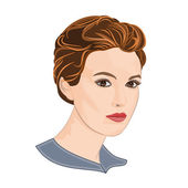 Girl with short hair elegance portraits vector illustration — Stock Vector