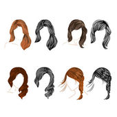 Set of four long  hair natural and silhouette  Vector — Stock Vector