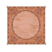 Decorative frame oak woodcarving hunting theme vector — Stock Vector