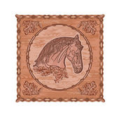 Horse and oak woodcarving hunting theme vintage vector — Stock Vector