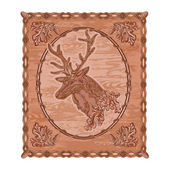Deer and oak woodcarving hunting theme vintage vector — Stock Vector