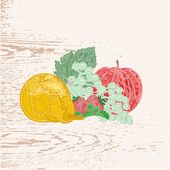 Fruits as engraving vintage vector — Stockvector