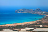 View on the sea Bay with a huge beach. Greece. Crete — Stock Photo