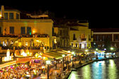 The old Venetian Harbour of Chania in the evening. Greece. Crete — Stock Photo