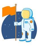 Astronaut holding a flag — Vecteur