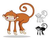 Monkey Cartoon set — ストックベクタ