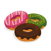 Three Flavour Donuts — Stock Vector