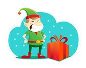 Elf with christmas present — Stockvektor