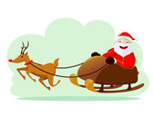 Santa Claus with Rudolf — Stock Vector