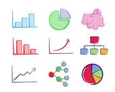 Business chart set color — Stock Vector