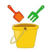 Pail and shovel beach toys — Stock Vector
