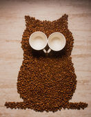 Shapes made of coffee seeds — Stock Photo