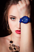 Beautiful young girl with wrist watch — Fotografia Stock