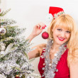 Woman with christmas bauble — Stock Photo