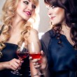 Beautiful girls with wine — Stock Photo #45980785