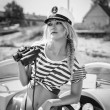 Attractive girl on yacht — Stock Photo #50299907