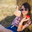 Teen girl showing ok sign — Stock Photo #50300109
