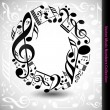 Постер, плакат: Number 0 from music notes