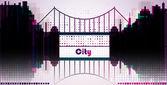 City background with bridge — ストックベクタ