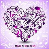 Abstraktní srdce z hudebniny — Stock vektor