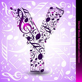 Y from music notes — Stock Vector