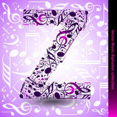 Z from music notes — Stock Vector