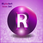 Button letter r — Stock Vector