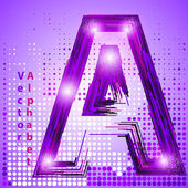 Letter a with lights — Stock Vector