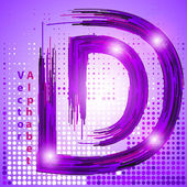 Letter d with lights — Stock Vector