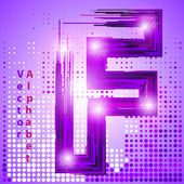 Letter f with lights — Stock Vector