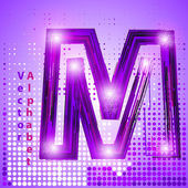 Letter m with lights — Stock Vector