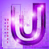 Letter u with lights — Stock Vector