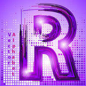 Letter r with lights — Stock Vector