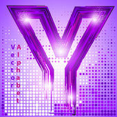 Letter y with lights — Stock Vector
