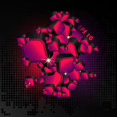 Abstract colored background with pink 3d cubes — Vecteur