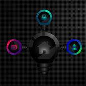 Sito web infografica con lampadina — Vettoriale Stock