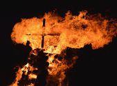 Cross in fire — Stock Photo
