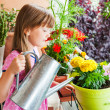 Adorable little girl watering flowers — Stock Photo #43386497