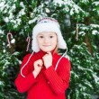 Winter portrait of a cute little girl — Stock Photo