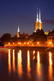 Wroclaw cathedral at night — Stock Photo