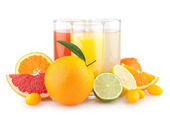 Citrus juices with different citruses — Stock Photo