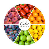 Fruit and vegetable color wheel — Stock Photo