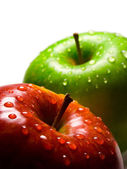 Two apples with water-drops — Stock Photo
