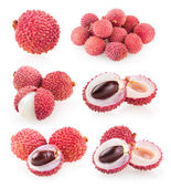 Collection of 6 lychee — Stock Photo