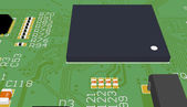 PCB green with elements — Foto Stock