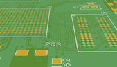 PCB green without elements — 图库照片