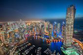 Dubai Marina at Night. Tallest Buildings of Marina at Blue Hour taken from a rooftop. City of lights. Dubai, United Arab Emirates — Stock Photo