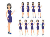 Girl in different poses — Stock Vector