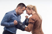 Coworkers in boxing gloves — Stock Photo