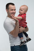 Father holding his son, cute baby boy — Stock Photo